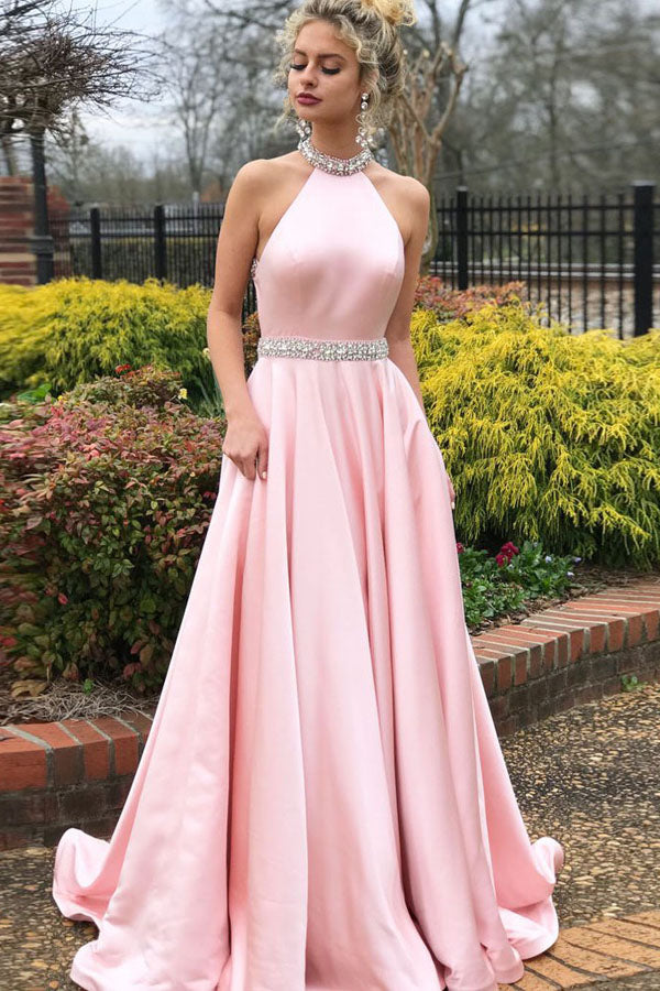 Simple Satin Pink A-line High Neck Beaded Long Prom Dresses, Evening Dress, SP405