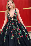 Black A-Line Deep V-Neck Lace Long Prom Dress with Floral Appliques, SP408