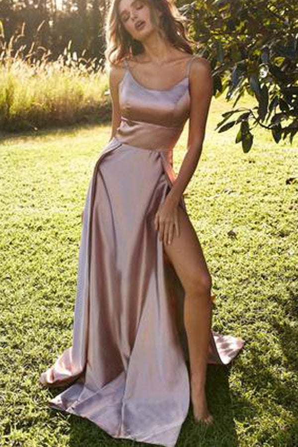 Simple Satin A-Line Backless Straps Cheap Long Prom Dress with Slit, SP409