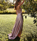 simidress.com offer Simple Satin A-Line Backless Straps Cheap Long Prom Dress with Slit, SP409