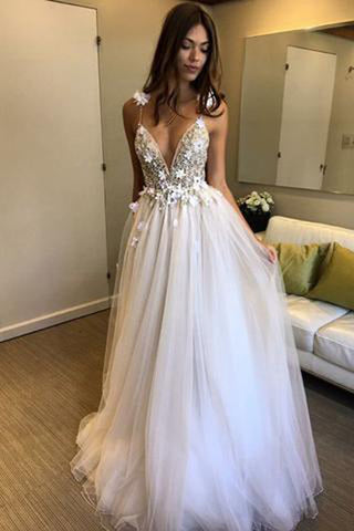 Beaded A-line Deep V-neck Straps Tulle Beach Wedding Dress with Appliques, SW238