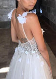 simidress.com offer Beaded A-line Deep V-neck Straps Tulle Beach Wedding Dress with Appliques, SW238