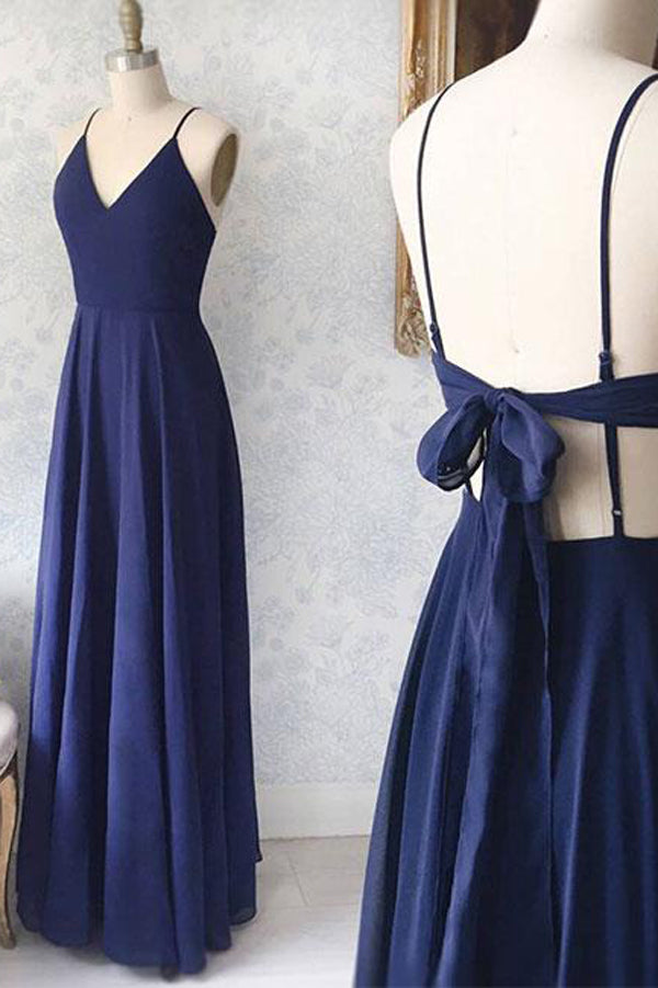 Simple Chiffon Blue Spaghetti Straps V-neck Floor Length Prom Dresses, SP414