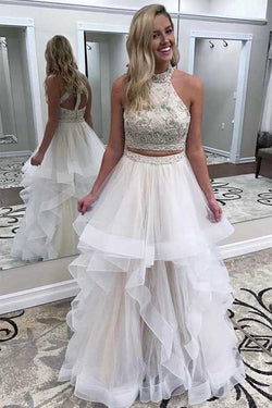 72e66486ebc White High Neck Two Piece A Line Tulle Prom Dress Evening Dresses