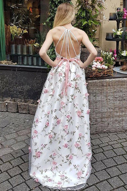 simidress.com offer Charming A-line V-neck Spaghetti Straps Floral Long Prom Dresses, SP416