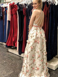 Charming A-line V-neck Spaghetti Straps Floral Long Prom Dresses, SP416