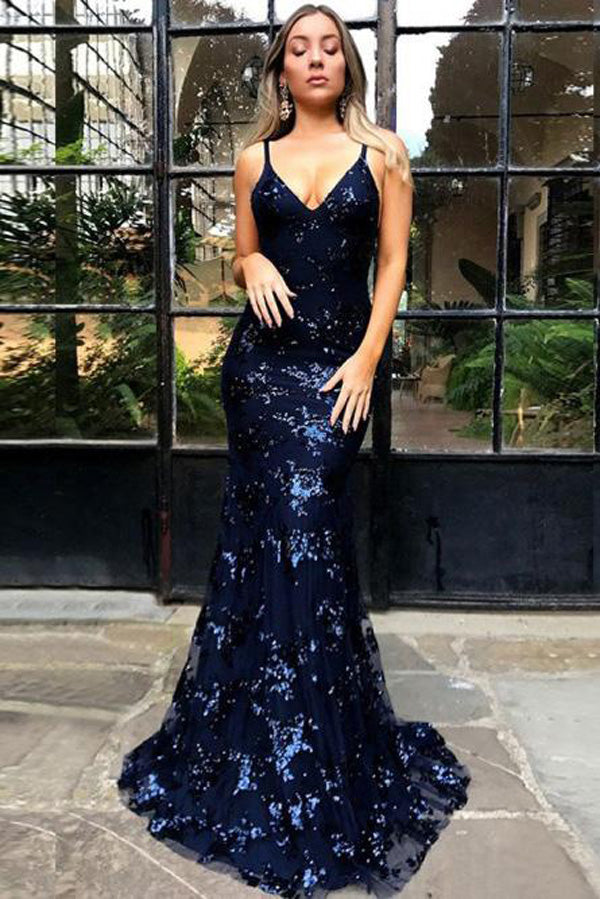 Popular Lace Backless Navy Blue Mermaid Spaghetti Straps Long Prom Dress, SP417