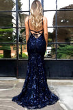 simidress.com sell Popular Lace Backless Navy Blue Mermaid Spaghetti Straps Long Prom Dress, SP417