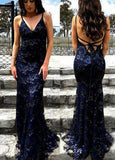 simidress.com offer Popular Lace Backless Navy Blue Mermaid Spaghetti Straps Long Prom Dress, SP417