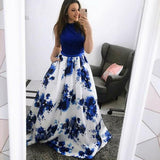 simidress.com offer Fashion Jewel Blue A-Line Floral Long Prom Dress Formal Dress with Pockets, SP418
