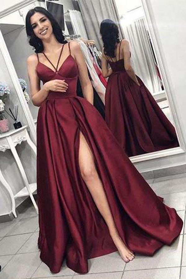 Simple Burgundy Satin Spaghetti Straps Long Prom Dress with High Slit, SP422
