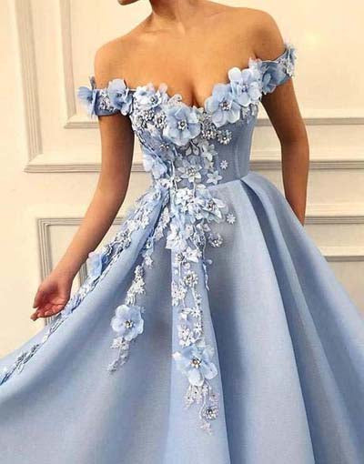 simidress.com offer Blue Satin A-line Off-the-shoulder Lace Sweetheart 3D Flowers Prom Dresses, SP427