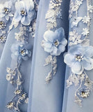 Find Blue Satin A-line Off-the-shoulder Lace Sweetheart 3D Flowers Prom Dresses, SP427 with good price at www.simidress.com