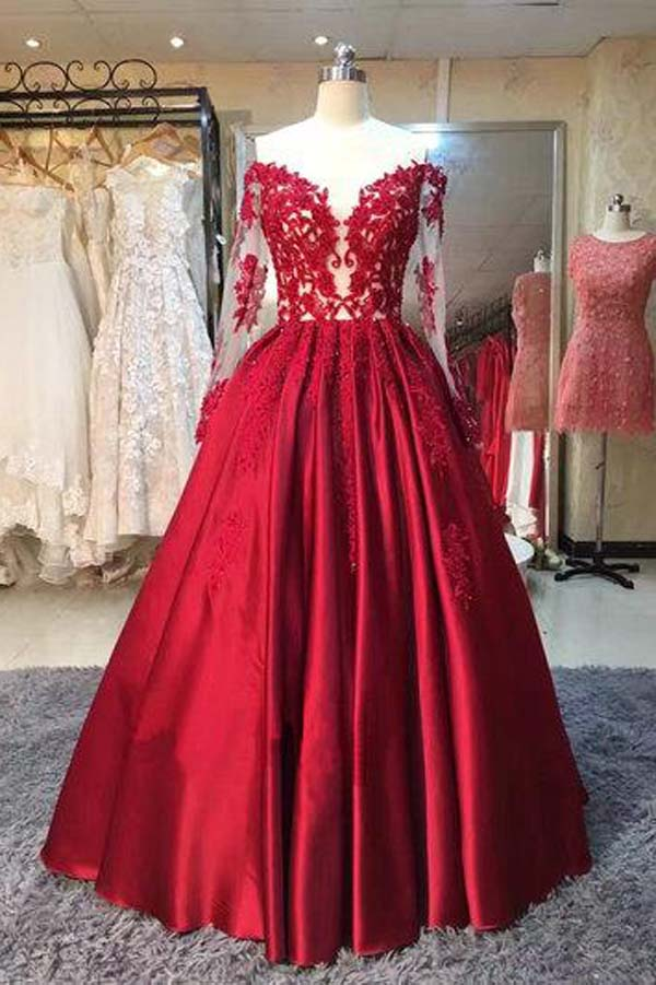 Burgundy A-line Floor-Length Long Sleeves Sweetheart Lace Prom Dresses, SP428