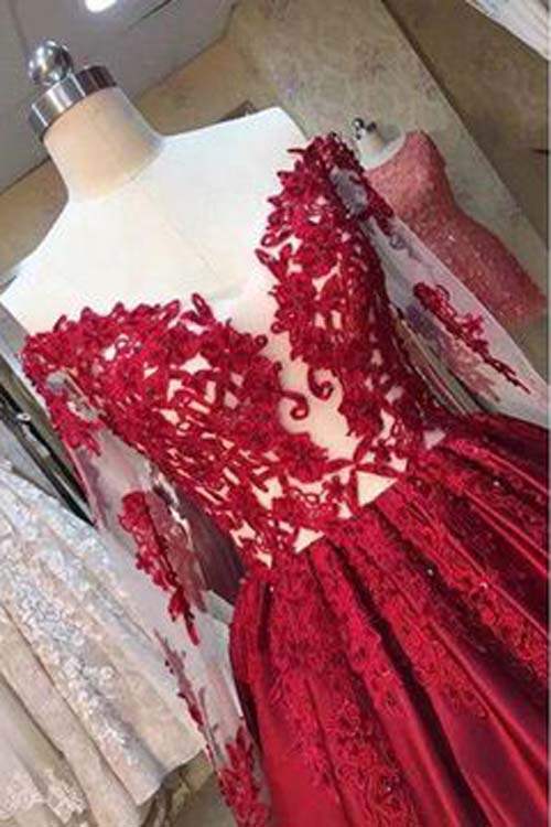 simidress.com offer Burgundy A-line Floor-Length Long Sleeves Sweetheart Lace Prom Dresses, SP428