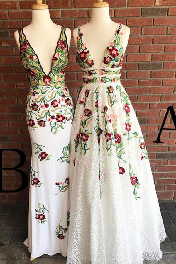 Fashion Ivory Lace A-line Deep V-neck Backless Prom Dress with Appliques, SP429
