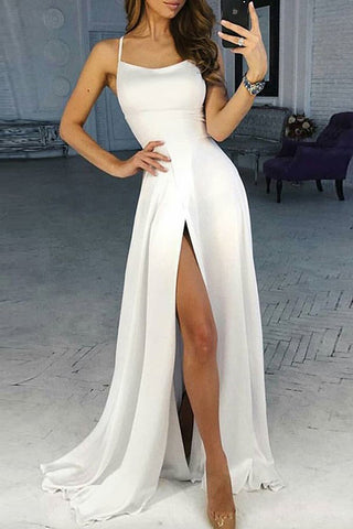 Simple Satin White Scoop Long Prom Dresses Evening Dress with High Slit, SP430
