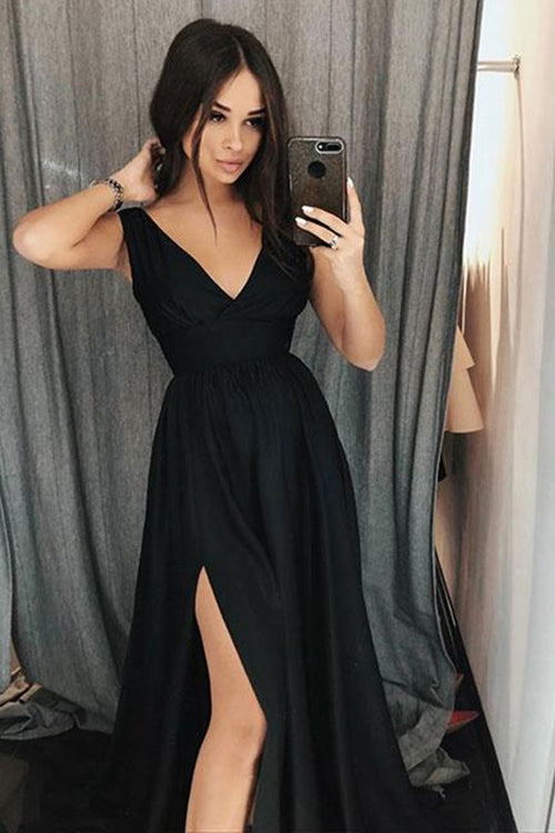 Simple Black A Line V Neck Formal Dresses Prom Dresses with Side Slit, SP431