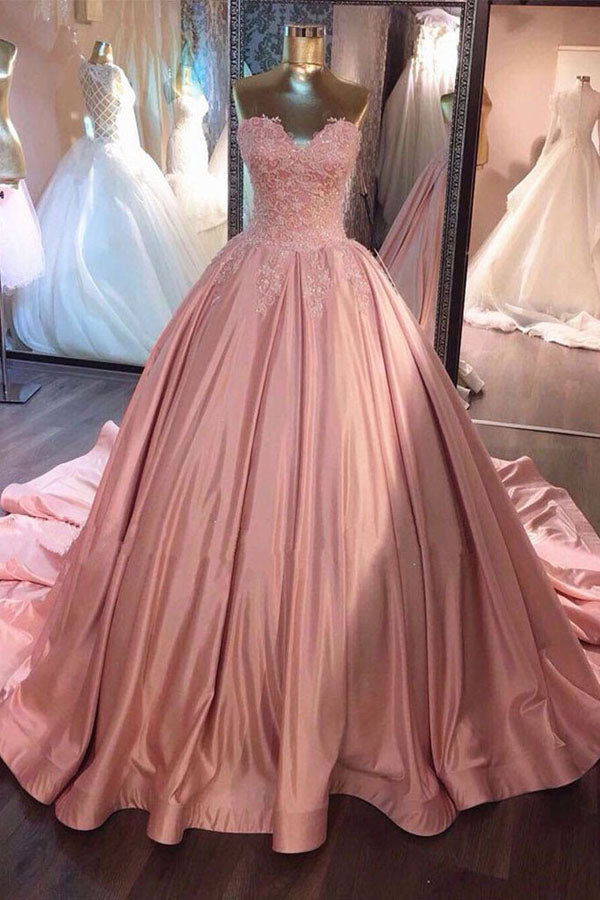 Gorgeous Pink Lace Ball Gown Sweetheart Long Prom Dress, Sweet 16 Dress, SP432