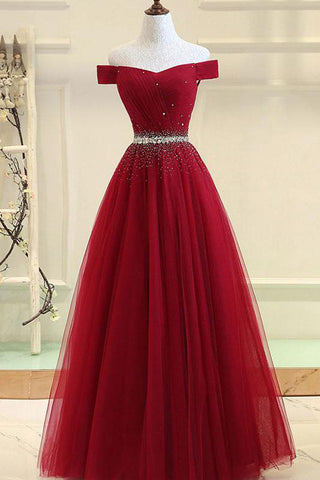 Burgundy Tulle A Line Off-the-shoulder Long Prom Dress with Beading, SP433