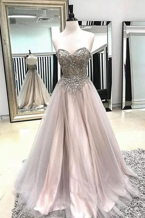 Fabulous A-line Spaghetti Straps Sweetheart Tulle Prom Dress with Beading, SP434