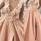 simidress.com offer Gorgeous A-line V-neck Tulle Prom Dresses Evening Dress with Flower, SP436