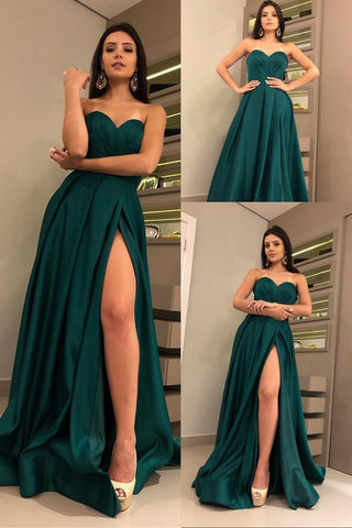 Dark Green Satin A-line Sweetheart Long Prom Dresses with High Slit, SP437