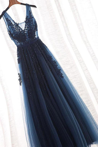 Navy Blue A-Line V-Neck Tulle Floor-length Prom Dress With Appliques, SP438