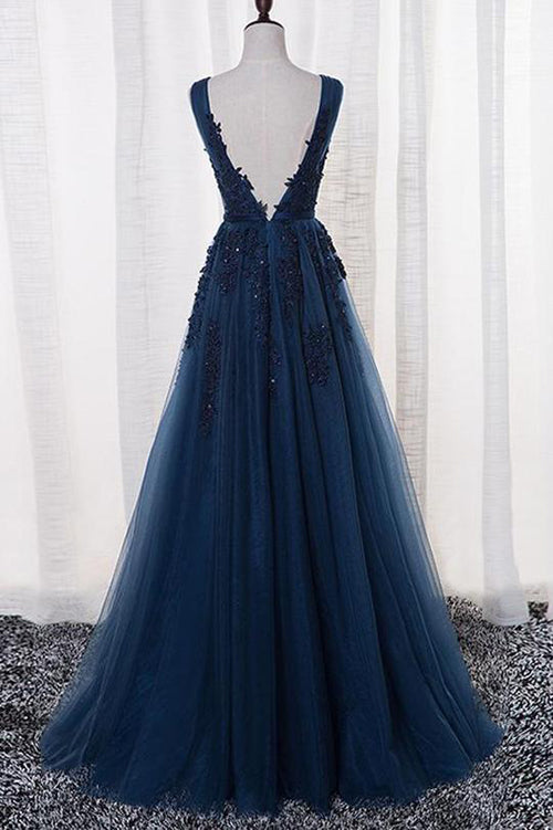 simidress.com offer Navy Blue A-Line V-Neck Tulle Floor-length Prom Dress With Appliques, SP438