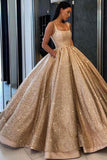 Beaded Gold Sequins Ball Gown Prom Dress with Pockets Quinceanera Dresses, SP440