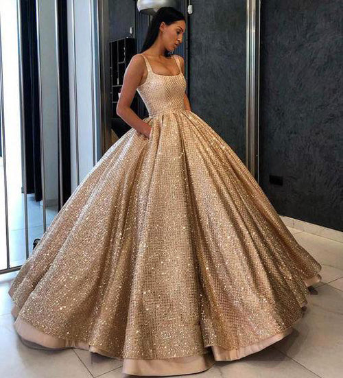 simidress.com offer Beaded Gold Sequins Ball Gown Prom Dress with Pockets Quinceanera Dresses, SP440