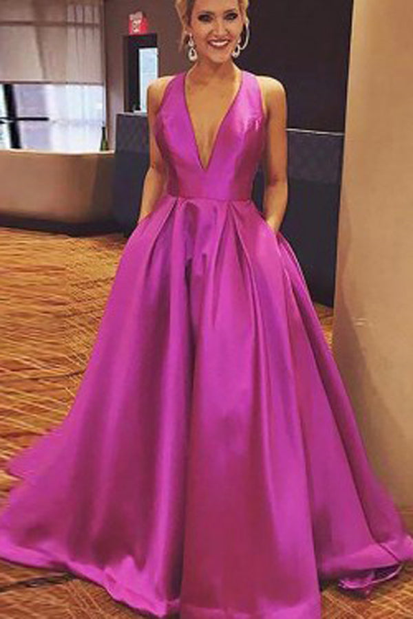 Hot Pink Satin Cute A-line V-neck Prom Dress with Ribbon, Evening Dresses, SP442