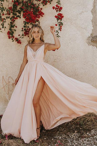 Light Pink Chiffon Spaghetti Straps Prom Dress Evening Dress with Side Slit, SP443