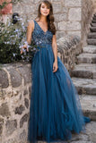 Blue Tulle A-line V-neck Long Prom Dresses Evening Dress with Beading, SP444