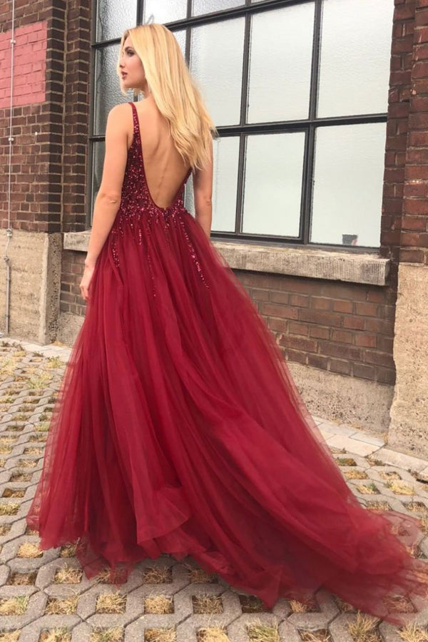 Fabulous Burgundy Tulle A-line V-neck Open Back Prom Dresses with Beading, SP446 at simidress.com
