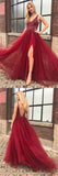Fabulous Burgundy Tulle A-line V-neck Open Back Prom Dresses with Beading, SP446 offered by simidress.com