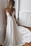 White Satin A-line V-neck Lace Spaghetti Straps Prom Dress with Sweep Train, SP447