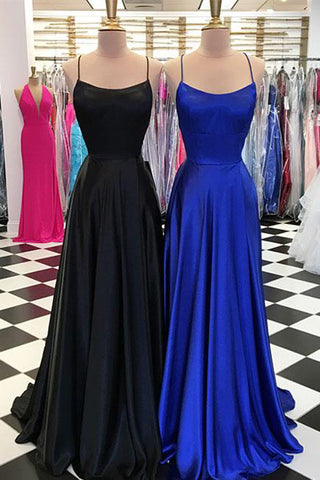 Simple Blue Satin A-line Spaghetti Straps Long Prom Dresses with Train, SP449