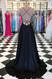 simidress.com offer Simple Blue Satin A-line Spaghetti Straps Long Prom Dresses with Train, SP449