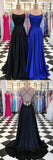 Simple Blue Satin A-line Spaghetti Straps Long Prom Dresses with Train, SP449 from simidress.com