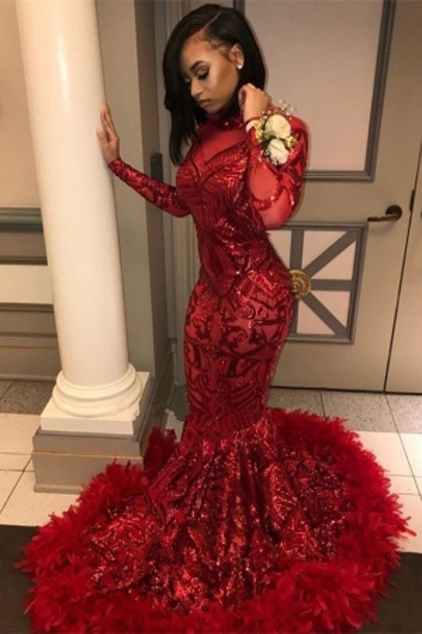 Red Long Sleeve Mermaid Sequins Prom Dress Evening Gowns With Feather, SP450