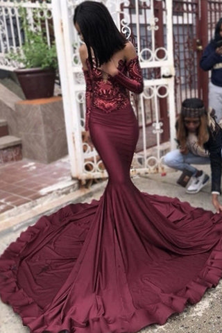 Burgundy Mermaid Long Sleeve Sequins Long Prom Dress Party Dresses, SP451