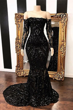 67f2326554 Fabulous Black Mermaid Sequins Long Sleeve Prom Dresses Evening Gowns