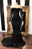 Fabulous Black Mermaid Sequins Long Sleeve Prom Dresses Evening Gowns, SP452