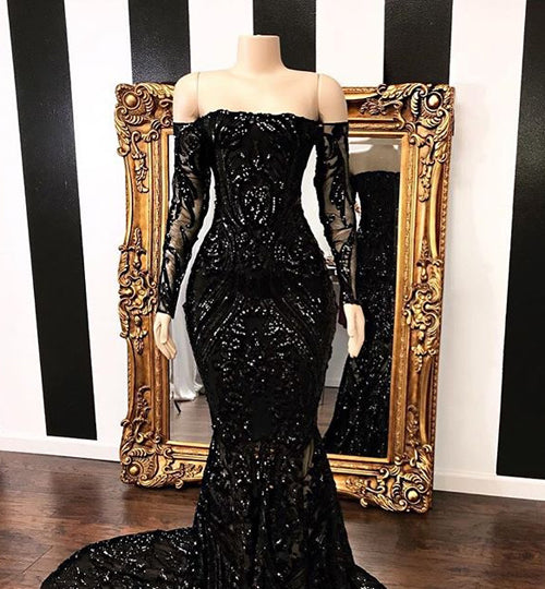 Fabulous Black Mermaid Sequins Long Sleeve Prom Dresses Evening Gowns, SP452 from simidress.com