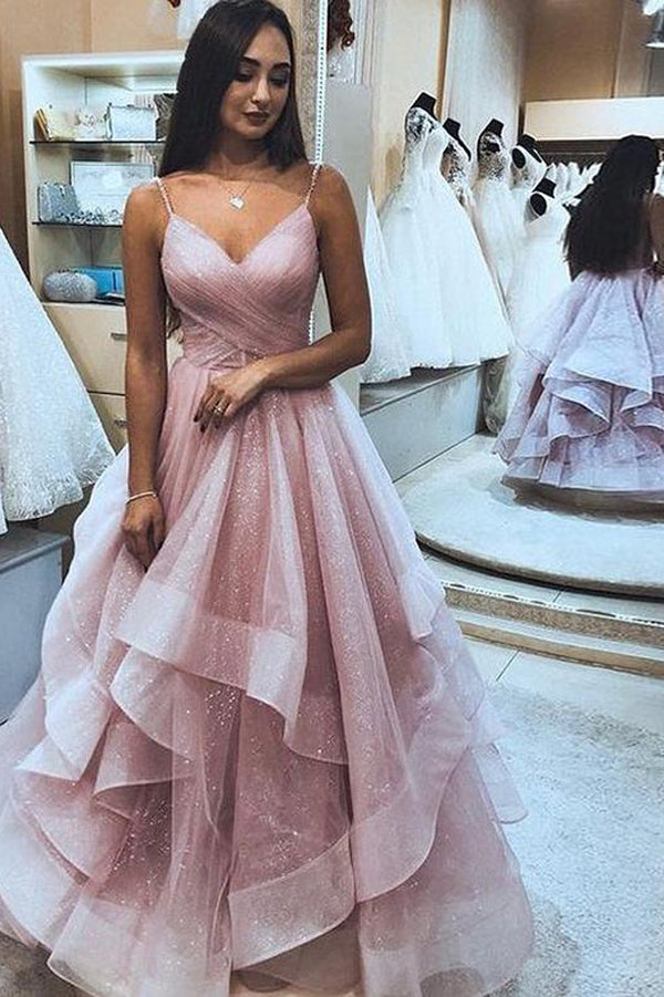 Elegant Pink Tulle A-Line Ruffle Spaghetti Straps Sleeveless Prom Dresses, SP453