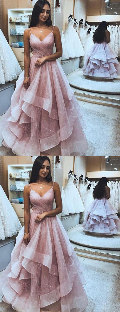 simidress.com offer Elegant Pink Tulle A-Line Ruffle Spaghetti Straps Sleeveless Prom Dresses, SP453