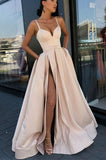 Simple A-Line Spaghetti Straps Floor-length Prom Dresses with Side Slit, SP454