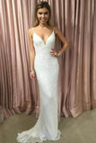simidress.com offer Charming Sparkly Mermaid Spaghetti Straps V-neck Sequins Prom Dresses, SP456