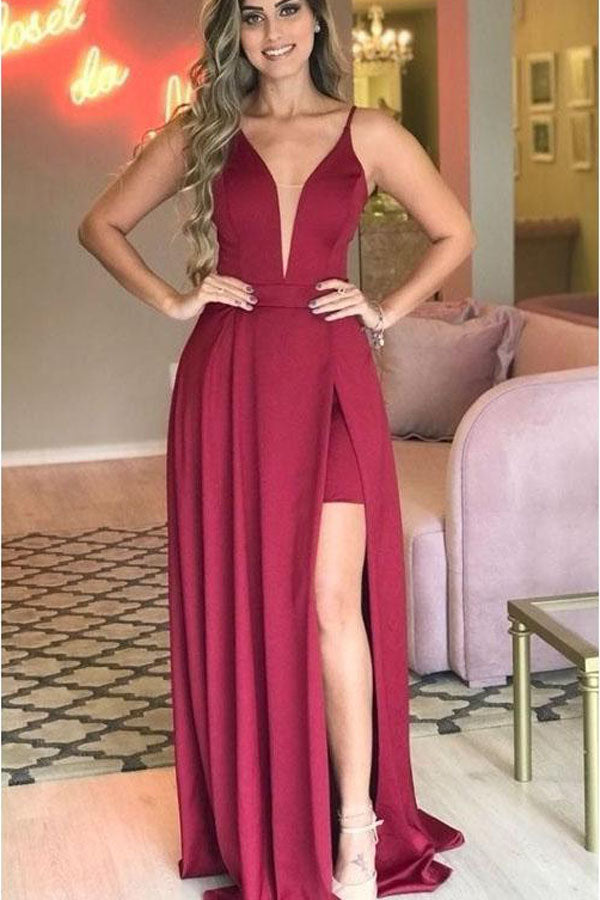 Simple Sleeveless Deep V-neck Prom Dress with Side Split, Evening Dresses, SP457